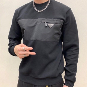 Fahion Мужские толстовки Лоскутная треугольник Стиль карманные Crew Neck Толстовка 20FW высокого качества Новое прибытие толстовки для мужчин Цвет Черный Размер S-L