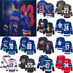 New York Rangers 13 Alexis LaFreniere Toronto Maple Leafs 24 Simmonds Canucks 88 SCHMIDT 70 Holtby St.Louis azuis 47 krug Hockey Jersey