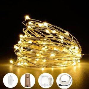 2M / 5M / 10M luz LED de cadena Holiday Año Nuevo Decoración de la guirnalda del banquete de boda de Navidad Inicio Hada Accionado por la batería del talud del USB