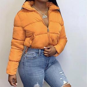 Ritagliata Giubbotto imbottito giù parka 2020 Moda inverno abiti da donna caldo bolla cappotti Arancione Nero Outwear