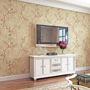 American Style Vintage Pastoral Non Woven Wallpaper for Living Room Bedroom Florals and Solid Wall Paper for Home Decor Walls