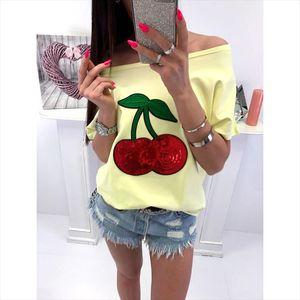 Summer Sexy Off Shoulder Top T shirt Women T Shirt Sequin Cherry Applique shirts Tops Plus Size 5xl Tee Shirt Femme Ws9079m