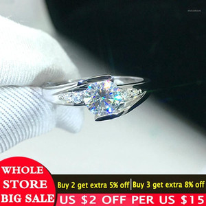 LMNZB With Certificate 100% 925 Sterling Silver Ring Staggered Connection 5mm CZ Diamond Wedding Ring Jewelry for Women LZR0361