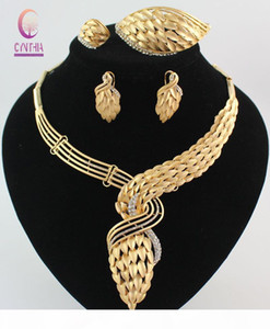 New Arrival African Costume Jewelry Set 18K Gold Plated Crystal Wedding Women Bridal Accessories nigerian Necklace Jewelry Set Jewelry Boxes