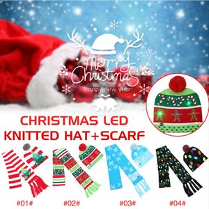 Chapeau Lumière LED Noël écharpe Ensembles 4 Styles LED Big Kids lumière Hat Cartoon arbre de Noël Bonnet tricoté écharpe Set Party fête Chapeaux CCA12588