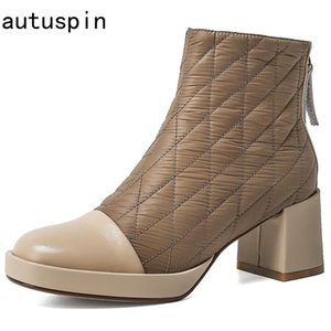 autuspin Female Newest Street Trendy Women Down Boots Winter Genuine Leather Thick Heels Pumps Women Fashion Plaied Zipper Boots