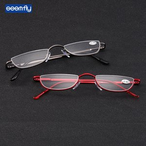 Seemfly Fashion Style Small Half Frame Reading Glasses Ultralight Clear Presbyopic Glasses Portable Gift For Old Men And Women