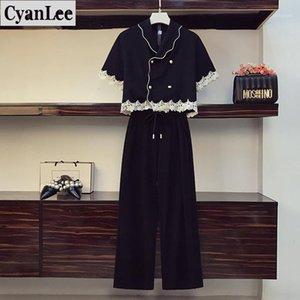 Cyanlee Yaz 2 Parça Set Kadın Chic Tasarım Kruvaze Dantel Dikiş Kısa Kollu Gömlek Elastik Bel Pantolon Takımları Tops1