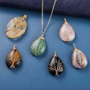 Oval Natural Stone Necklace Pendant Jewelry Copper Line Wrapped Tree of Life Necklace for Women Charm Jewelry