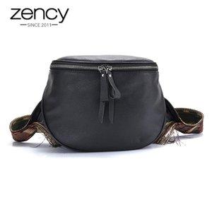 Zency 100% cuir véritable hangbag Retro femmes Messenger Bag Black Sac bandoulière Forme tambour Petit selle Sacs Femme épaule