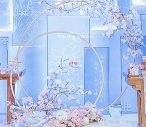Party Mariage accessoires Décor Fer Ferough Ring Rond Arch de toile de fond Soie de pelouse Soik Artificielle Flower Stand Plat