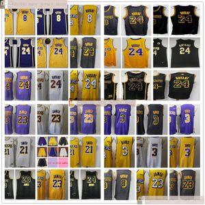 2021 New Black Baskeball 23 LeBron 3 Anthony James Davis Jerseys Best Quality Stitched JR 21 Smith White Yellow Jerseys Bryant Short