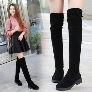 2020 New Spring and Autumn Round Head Scrub In The Thin with Over The Knee Long Boots Female Wild Thick with Martin Boots