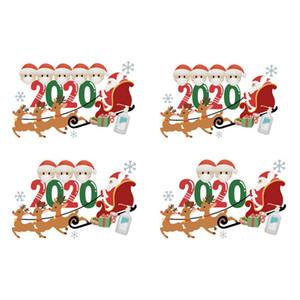 Membro parede personalizado Quarentena Natal Adesivos Sobrevivente Família com máscara Etiqueta DIY Manuscrito Muro Porta Decoração GWE2321