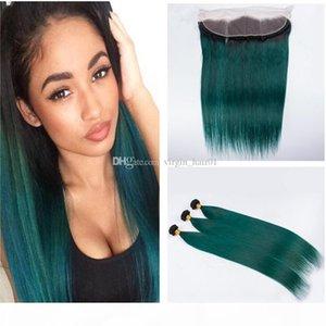 Yeşil Ombre Saç Frontal Koyu Kökleri Ile 1B Yeşil İnsan Saç Dantel Frontal Düz Bezilyalı Bakire Saç Atkı Ile Örgüler