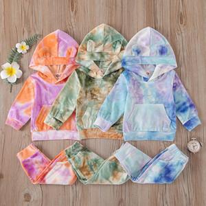 Bebés Meninas Tie Dye Vestuário Define manga comprida com capuz Top + Pants 2pcs Autumn Suit Sets Boutique Kids Clothing