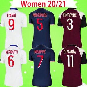 PSG Soccer Jersey MULHERES 20 21 NEYMAR JR 2020 2021 Paris Casa Fora azul branco VERRATTI CAVANI MBAPPE camisa de futebol feminino DI MARIA uniforme feminino