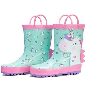 Rain boots Cute cartoon waterproof non-slip wear-resisting portable rubber keep warm students children Boys and girls