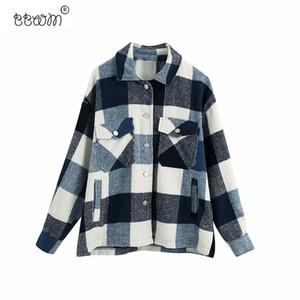 BBWM Frauen arbeiten Maxi-karierte Jacke Vintage Langarm Pockets Mantel-Oberbekleidung weiblich Chic 201013 Tops