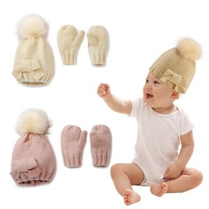2020 Baby Hat and Mittens Set Kids Knitted Cotton Beanie Cap Winter Warm Boys Girls Double Pompom Hats Gloves Xmas Gifts