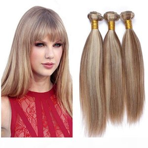 Brown and Blonde Mixed Piano Color Virgin Indian Human Hair Weaves 3Pcs Silky Straight Piano Mixed #8 613 Highlight Color Human Hair Bundles