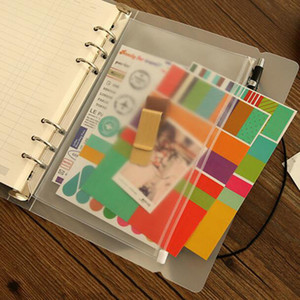 A5 A6 A7 PVC Binder Clear Zipper Storage Bag 6 Hole Waterproof Stationery Bags Office Travel Portable Document Sack OOE2683