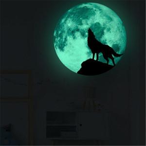 para Decoração Lua Crianças Dia das Bruxas Adesivos Luminous Lobo Decalque Quarto Glow in the Dark Stickers U6ox