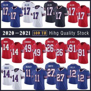 17 Josh Allen BuffaloFußball Jersey 11 Cole Beasley 14 Stefon Diggs 49 Tremaine Edmunds 12 Jim Kelly 26 Devin Singletary 27 weiß