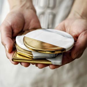 Branco / Ouro Marble Padrão Bebida Ceramic Coaster Coffee Cup Mat Tabela Pad Tea Decoração Tabela Placemats