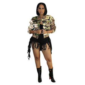 Камуфляж Leopard Лоскутная женщин куртки весна осень Сыпучие с длинным рукавом нагрудные шеи вскользь горячее надувательство женщин пальто