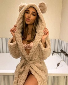 2021 Wsevypo New Women Women Fleece Capucha Capucha Robe Ropa de dormir Otoño Invierno Cálido Manga Larga Grueso Sueño Robe Furry Pijamas