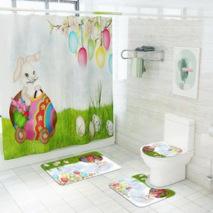 Happy Easter Shower Curtain Colorful Eggs Flowers Bunny Printed Waterproof Fabric Shower Curtains with Rug and Hooks sea shipping DHB4544