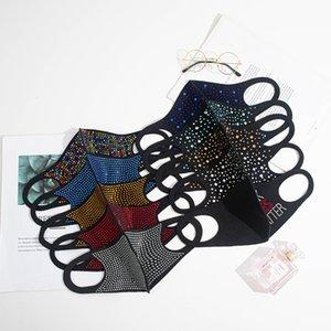 10 Farben Modefarbe heller Diamant Strass Maske Ohren staub- und anti-Dunst waschbar verstellbare Maske hängen GWE2248
