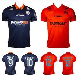 20 21 Maillot Montpellier HSC Soccer Jersey 2020 2021 Delort Mailleot De Foot Savanier Lecomte Labord Chotard Mavididi مخصص لكرة القدم قميص