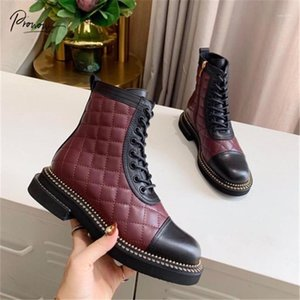 Probow New Fashion Negro Negro Cuero genuino Mujer Botas de tobillo Toe Redondo Side Zip Mujeres Otoño Invierno Botas Zapatos Mujer1