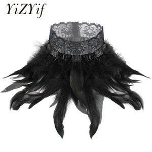 Women Gothic Victorian Natural Feather Lace Choker Neck Wrap Collar Stage Performance Cosplay Costume Accessories Feather Choker