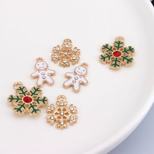 Christmas Charms Snowflake Snowman DIY Jewelry Making Accessories Alloy Drop Oil Pendant for Necklace Bracelet Gift Girl Christmas
