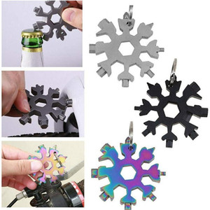 Snowflake Screwdriver Wrench Bottle Opener Key Chain 18 In 1 Multi-Tool Stainless Steel Multi Tool Card Mini for Hiking Camping Tool E102902