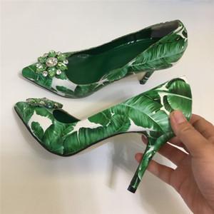 Viisenantin 2019 NUEVO Hoja verde Impresión Zapatos de tacón alto 6cm 10 cm Tacón de talón Boca superficial puntada Sapatos Crystal Summer Shoe J1215