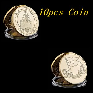 10pcs 1912 The Voyage Titanic Ship Gold Plated Rms Titanic Victims Coin Of Collection Coin Art Metal Craft