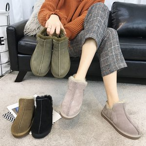 SWYIVY Winter Ankle Boots Wool Fur Woman Slip On Female Snow Boots Warm Shoes Genuine Leather Comfortable Winter Snowboots 201020
