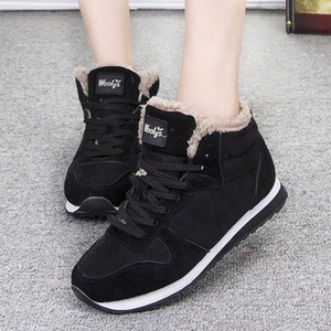 2019 Winter Women Boots Sneakers Snow Boots Ankle Flat Women Plush Warm Lace Up Winter High Quality Big Size cdn5#