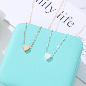 Love Heart Shaped Alloy Necklace Jewelry Women Chain Mini Glossy Surface Valentine Day Collarbone Chains 1 2QW J2B