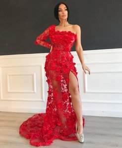Sexy See Through Mermiad Prom Dresses with 3D Floral Appliques Red Party Dress for Women Cocktail Gowns vestidos de graduación