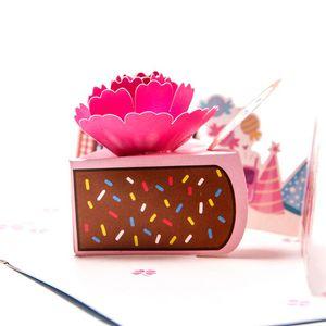 3D up cake Birthday greeting card party cake card laser cutting envelope postcard hollow handmade kirigami Vintage gifts