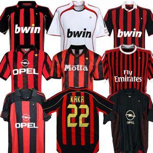 Langarm 90 91 Retro Hemden Home 96 97 Gullit Fussball Jersey 01 02 03 Maldini van Basten Fußball Ronaldo Kaka Inzaghi 06 07 AC Mailand 2009