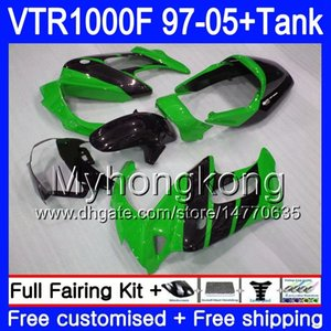 Fairing für HONDA SuperHawk VTR1000 F 1997 1998 1999 2000 2001 56HM.198 VTR 1000 F 1000F Grün schwarz VTR1000F 97 98 99 00 01 05 Body + Behälter