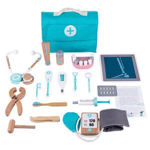 Rowsfire 18 adet Çocuk Ahşap Pretend Diş Hekimi Araç Kutusu Doktor Tıbbi Playset Stetoskop ile 210312