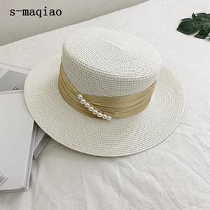 S-Maqiao Летняя соломенная шляпа для женщин Большой широкий Breim Beach Hat Chatement Pearl Sun УФ защитная крышка Panama Bone Chapeu Feminino