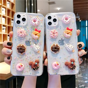Cartoon 3D Crystal Gummy Candy Color Ice cream Phone Case for iPhone 11 Pro X XS MAX Xr 7 8 Plus Korea Donuts bread Soft Cover